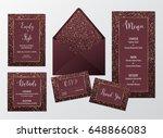 wedding set cards marsala with... | Shutterstock .eps vector #648866083