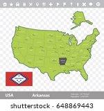 usa arkansas state map and flag ...   Shutterstock .eps vector #648869443