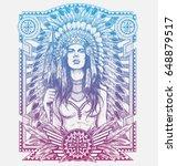 native american woman warrior... | Shutterstock .eps vector #648879517