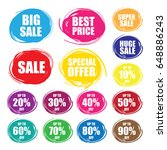 colorful vector sale tags in... | Shutterstock .eps vector #648886243