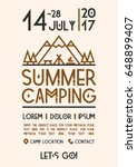 summer camping poster with... | Shutterstock .eps vector #648899407
