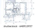 house plan blueprint. technical ... | Shutterstock . vector #648913957
