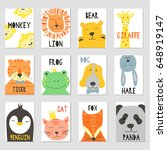 Stock vector vector cards with cute illustration of animal faces for banners flyers placards vector clip art 648919147