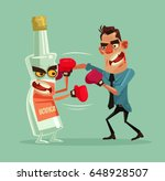 angry man fights with alcohol...
