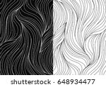 black and white wave patterns.... | Shutterstock .eps vector #648934477