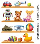 different toys on wooden... | Shutterstock .eps vector #648937393