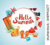 hello summer time travel season ... | Shutterstock .eps vector #648941677