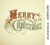 vintage christmas card. merry... | Shutterstock .eps vector #64894198