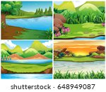 four nature scenes with... | Shutterstock .eps vector #648949087