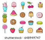 funny flat icons of donuts ... | Shutterstock .eps vector #648949747