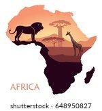 sunset in the savannah. the... | Shutterstock .eps vector #648950827