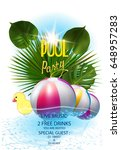 pool party poster with...   Shutterstock .eps vector #648957283
