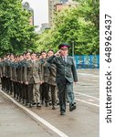 Small photo of KYIV, UKRAINE - May 26, 2017: Ceremony on the occasion of the end of the academic year in the Kiev military lyceum of Ivan Bohun. Solemn march.