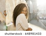 portrait of shy beautiful black ... | Shutterstock . vector #648981433