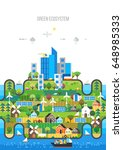 green ecosystem. city transport ... | Shutterstock .eps vector #648985333