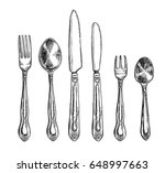 cutlery freehand pencil drawing ... | Shutterstock .eps vector #648997663