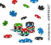 poker chips isolated on white... | Shutterstock .eps vector #648998347