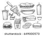 fast food sketch isolated on... | Shutterstock .eps vector #649000573