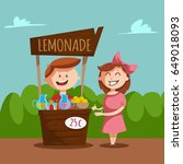 lemonade stand with a pitcher... | Shutterstock .eps vector #649018093
