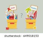 vector illustration  work and... | Shutterstock .eps vector #649018153