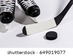 ice hockey stick and shoe and... | Shutterstock . vector #649019077