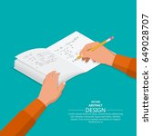 the hand with a pencil writes... | Shutterstock .eps vector #649028707