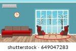 living room interior design... | Shutterstock .eps vector #649047283