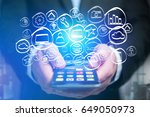 view of a technology hand drawn ... | Shutterstock . vector #649050973