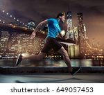 young athlete running in new... | Shutterstock . vector #649057453
