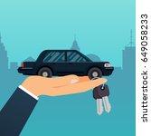 car seller hand holding key to... | Shutterstock .eps vector #649058233