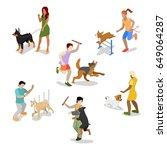 isometric people training dog.... | Shutterstock .eps vector #649064287