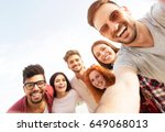 group of young people standing... | Shutterstock . vector #649068013