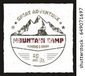mountain camp poster. outdoor... | Shutterstock . vector #649071697