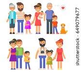 vector flat style family set.... | Shutterstock .eps vector #649079677