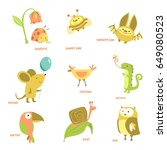 animals set. different animals  ... | Shutterstock .eps vector #649080523