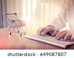 closeup of man's hands typing... | Shutterstock . vector #649087807