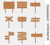 wooden signboards arrow sign... | Shutterstock . vector #649094953