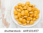 salted lupins in the white... | Shutterstock . vector #649101457