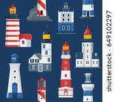 cartoon lighthouse pattern. red ... | Shutterstock .eps vector #649102297