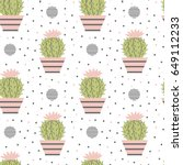 seamless pattern of cacti.... | Shutterstock .eps vector #649112233