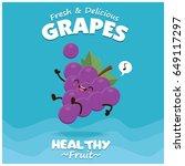 vintage grapes poster design... | Shutterstock .eps vector #649117297