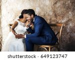 newlywed african descent couple ... | Shutterstock . vector #649123747