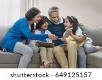 happy grandparents and... | Shutterstock . vector #649125157