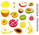 bright vector set of colorful... | Shutterstock .eps vector #649125163