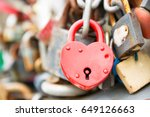 love red romance lock on the... | Shutterstock . vector #649126663
