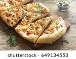 traditional italian focaccia... | Shutterstock . vector #649134553