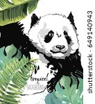 tropical poster with panda and... | Shutterstock .eps vector #649140943
