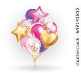 heart star gold balloon bouquet.... | Shutterstock . vector #649141813