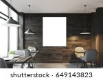 front view of a dark wooden... | Shutterstock . vector #649143823