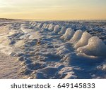Small photo of Winter wonder. Wonderful nature creation. By the sea on ice.